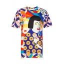 New Trendy Colorful Cartoon Girl Eyes Printed Round Neck Short Sleeve Tunic Tee