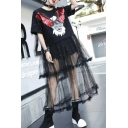 Cool Gauze Patchwork Beaded Sequined Eagle Letter Pattern Layered Midi T-shirt Dress
