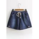 Adorable Fox Embroidery Drawstring Waist Pocket Side Loose Denim Shorts