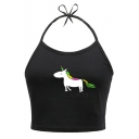 Cute Unicorn Letter Printed Halter Sleeveless Cropped Cami