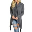 New Trendy V Neck Plain Long Sleeve Asymmetric Hem Tee