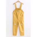 Sports Leisure Cat Fish Embroidered Pocket Overall Jumpsuit