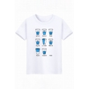 Unique Glass Letter Print Round Neck Short Sleeves Casual Tee