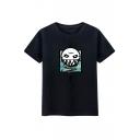 Cool Cartoon Print Round Neck Short Sleeves Summer Unisex T-shirt