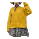 Fake Two Pieces Patchwork Round Neck Long Sleeve Plaid Printed Hem Mini Sweatshirt Dress