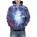 Digital Galaxy Cat Printed Long Sleeve Leisure Loose Unisex Hoodie