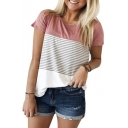 Hot Sale Color Block Striped Pattern Round Neck Short Sleeves Casual Tee