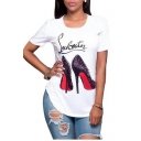 Fashionable High Heel Shoes Letter Pattern Round Neck Short Sleeves Tee