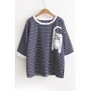 Lovely Cartoon Cat Letter Printed Striped Round Neck Short Sleeve Tee