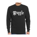 Leisure Loose MUGGLE Letter Printed Round Neck Long Sleeve Pullover Sweatshirt