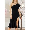 Elegant One Shoulder Plain Short Sleeve Split Front Asymmetric Hem Midi Dress