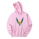 Fashionable Bird Parrot Pattern Long Sleeves Pullover Hoodie with Pocket