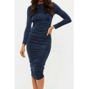 Plain Slinky Ruched Side Hollow Out Back Long Sleeve Midi Pencil Dress