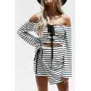 Spring Fashion Striped Pattern Lace-up Detail Hollow Out Two-Way Mini Asymmetrical Dress