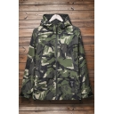 Popular Camouflaged Pattern Pocket Detail Long Sleeves Zippered Hooded Utility Jacket