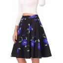 High Waist Rose Printed Retro Zipper Fly Midi A-Line Skirt