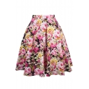 Hot Sale Retro Floral Printed Zip Up Flare Midi A-Line Skirt