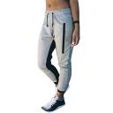Chic Comfort Color Block Drawstring Waist Leisure Sports Pants