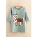 Scarf Deer Printed Round Neck Short Sleeve Comfort Leisure Tee