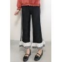 Chic Fashion Lace Insert Plaids Striped Pattern Loose Pants