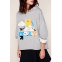 Chic Cartoon Cloud Sun Letter Pattern Long Sleeves Pullover Loose Hoodie