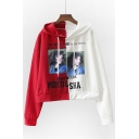 Fashionable Character Letter Print Color Block Long Sleeves Pullover Cropped Hoodie
