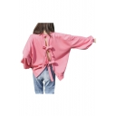 Girlish Plain Bow Tie Hollow Back Round Neck Long Sleeves Pullover Loose Sweatshirt
