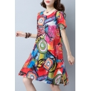 Retro Color Block Abstract Pattern Round Neck Mini Swing Dress