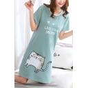 Cute Cat Cartoon Letter Print Round Neck Short Sleeve Mini T-shirt Dress