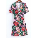 Popular Floral Print Short Sleeve V Neck Mini Wrap Summer Dress