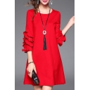 Popular Plain Ruffle Detail Round Neck Zip Back Mini Swing Dress