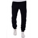 Men's Plain Leisure Loose Zipper Fly Pants with Pockets