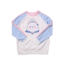 Childish Marine Bear Color Block Round Neck Long Sleeves Autumn Tee