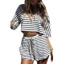 Chic Leisure Sports Round Neck Short Sleeve Crop Tee with Drawstring Waist Shorts Co-ords