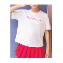 Letter Printed Bow Tied Red Heart Embellished Back Round Neck Short Sleeve Tee