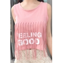 Tassel Embellished Round Neck Letter Printed Sleeveless Cropped Tank