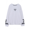 New Stylish Simple Letter Printed Round Neck Long Sleeve Pullover Sweatshirt