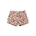 Lovely Cartoon Santa Claus Printed Drawstring Waist Shorts