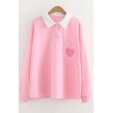 Heart Embroidered Detail Pocket Contrast Lapel Collar Long Sleeve Double Buttons Leisure Tee