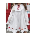Cute Cartoon Christmas Series Embroidered Lace Up Front Embellished Long Sleeve Midi Smock Dress