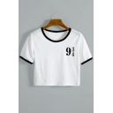 Simple Number Pattern Color Block Round Neck Short Sleeves Cropped Tee