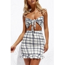 Chic Holiday Spaghetti Straps Sleeveless Plaid Printed Hollow Out Tied Front Mini Cami Dress