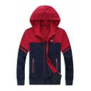 Fashionable Color Block Zip Up Men's Spring Casual Hoodie with Pockets
