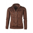 Men's Fashion Zip Up Plain Button Detail Long Sleeve High Neck Jacket