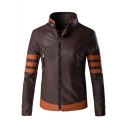 Steampunk Fashion Color Block Zip Up High Neck Patchwork Men's Jacket