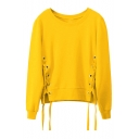 Fashion Leisure Lace Up Side Round Neck Long Sleeve Pullover Sweatshirt