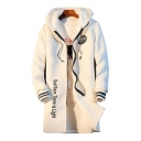 Chic Striped Cuff Tiger Letter Print Long Sleeves Zippered Hooded Longline Coat
