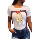 Fancy Beaded Shoe Pattern Floral Applique Strap Detail Short Sleeves Summer Tee