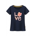 Comfort Letter Floral Printed Round Neck Short Sleeve Leisure Tee
