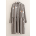 Popular Rabbit Carrot Embroidered Button Detail Lapel Long Sleeve Mini Smock Dress